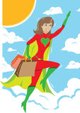 Superhero girl flying with shopping bags Stock Image