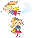 Superhero girl flying and standing Royalty Free Stock Photos