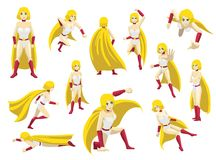 Superhero Girl Poses Cartoon Emotion faces Vector Illustration Stock Photos