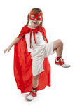 Superhero girl in a red Stock Images