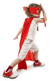 Superhero girl in a red Stock Photo