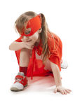 Superhero girl in a red Stock Image