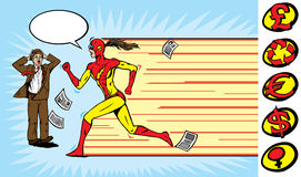 Superhero girl runner Stock Images