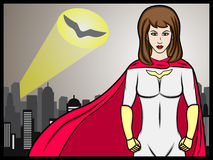 Superhero girl signal Stock Photos
