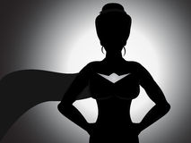 Superhero Girl Silhouette Royalty Free Stock Photography