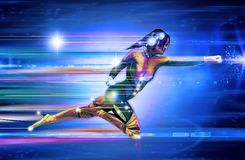 Superhero, Girl, Speed, Runner Stock Image