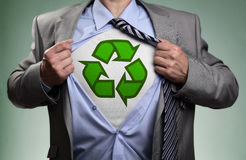 Superhero green eco businessman stock photos
