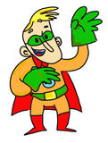 Superhero with green gloves Stock Photos