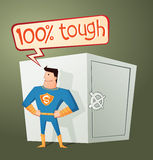 Superhero guarding a deposit box. Strong retro superhero guarding a deposit box and get a pose Royalty Free Stock Photos