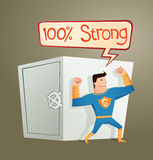 Superhero guarding a deposit box. Strong retro superhero guarding a deposit box and get a pose Royalty Free Stock Images