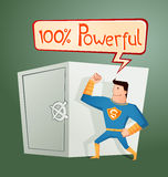 Superhero guarding a deposit box. Strong retro superhero guarding a deposit box and get a pose Royalty Free Stock Image