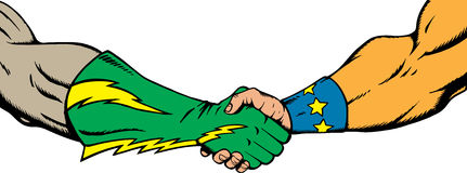 Superhero handshake Stock Photo