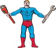 Superhero Handyman Spanner Wrench Cartoon Stock Photo