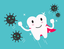 Superhero healthy tooth attack bacteria and germ. Stock Photo
