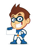 Superhero holding a blank business card. Vector clipart picture of a superhero cartoon character holding a blank business card Royalty Free Stock Image