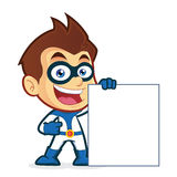 Superhero holding a blank sign. Vector clipart picture of a superhero cartoon character holding a blank sign Royalty Free Stock Photography