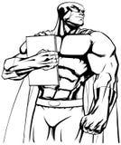 Superhero Holding Book Line Art Royalty Free Stock Photos