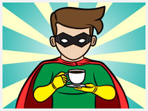 Superhero holding a coffee cup Royalty Free Stock Photography