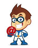 Superhero holding an email at. Vector clipart picture of a superhero cartoon character holding an email at Royalty Free Stock Photography