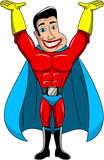 Superhero Holding Palm Hands Up Isolated Royalty Free Stock Photo