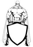 Superhero Holding Shield Line Art Stock Photo