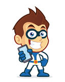 Superhero holding smartphone. Vector clipart picture of a superhero cartoon character holding smartphone Royalty Free Stock Images