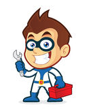 Superhero holding tools. Vector clipart picture of a superhero cartoon character holding tools Stock Photo