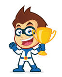 Superhero holding a trophy cup. Vector clipart picture of a superhero cartoon character holding a trophy cup Royalty Free Stock Photos