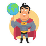 Superhero holds planet earth on finger Stock Images
