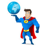 Superhero holds planet earth Stock Photography