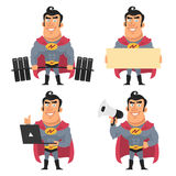 Superhero holds various objects Royalty Free Stock Photography
