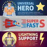 Superhero Horizontal Banners. Including persons of universal possibilities and fast speed and lightning man isolated vector illustration Stock Photos