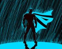 Superhero i regn vektor illustrationer