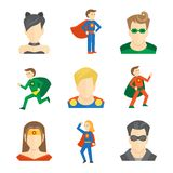 Superhero icon flat Stock Images