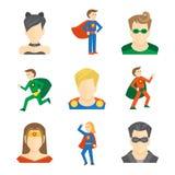 Superhero icon flat Stock Images