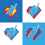 Superhero icon set. Vector superhero silhouette wearing red cloak flying on wind Royalty Free Illustration