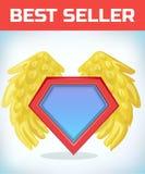 Superhero icon - Superhero logo. Super hero shield with angel wings. Masquerade costume. Carnival or Halloween Cartoon royalty free illustration