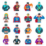 Superhero Icons Set. With strong men and women flat isolated vector illustration Royalty Free Stock Photo