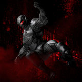 Superhero illustration. A superhero illustration, a man in black suit and mask with red eyes Stock Photos
