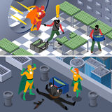 Superhero Isometric Banners Set vector illustration