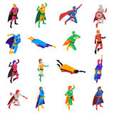 Superhero Isometric Icons Set. Superhero Icons Set. Superhero Isometric Vector Illustration. Superhero People Symbols. Superhero Design Set. Superhero People Stock Image