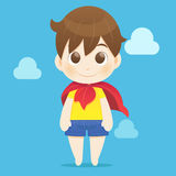 Superhero kid against blue sky background Stock Photography