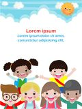 Superhero kid on background,Template for advertising brochure,poster your text ,Vector Illustration. royalty free illustration