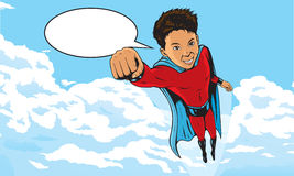 Superhero Kid flying through clouds Stock Photos