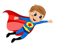 Happy Superhero Kid Flying. Superhero kid flying isolated on white background. Eps file is available Stock Photo