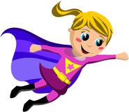 Superhero Kid Flying. Isolated on white background. Eps file is available Royalty Free Stock Photography