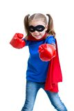 Superhero kid girl with boxing gloves. Isolated royalty free stock image