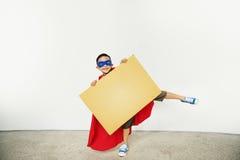 Superhero Kid Placard Copy Space Playful Concept Stock Image
