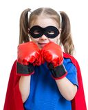 Superhero kid wearing boxing gloves Royalty Free Stock Images