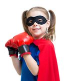 Superhero kid wearing boxing gloves Royalty Free Stock Photography